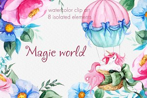 Magic world. Watercolor unicorn set