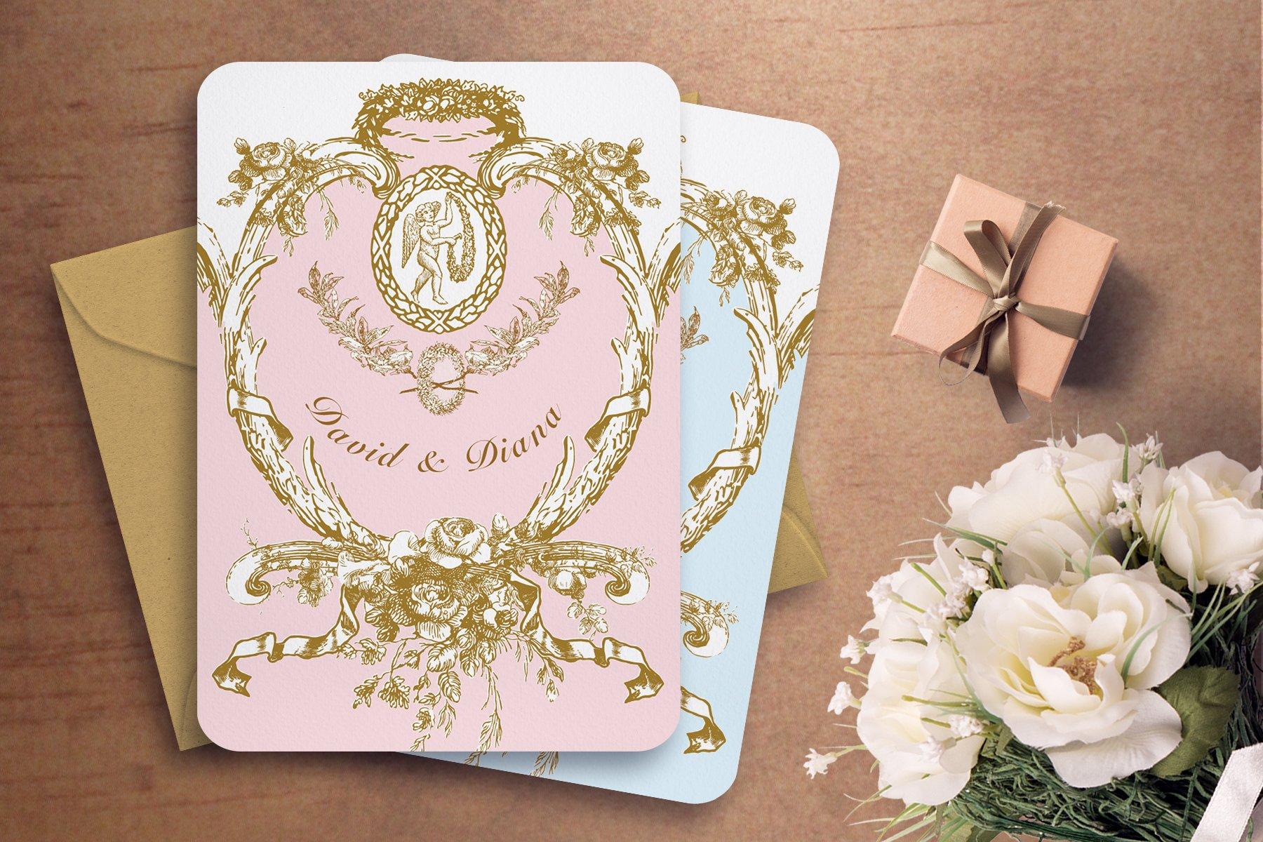 MARIE ANTOINETTE WEDDING INVITATION ~ Templates ~ Creative Market