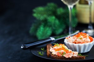 Salmon patу with red caviar
