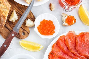 Lunch with salted salmon, red caviar