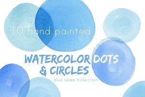 Blue Watercolor Circles & Dots