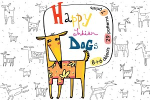 Happy Indian Dogs: patterns, prints
