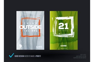 Set of abstract design of business vector brochure, template cover, playbill, poster