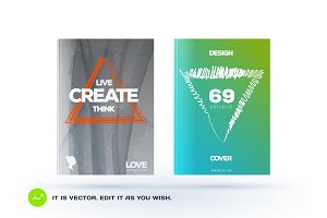 Set of abstract design of business vector brochure, template cover