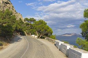 A mountain road along the seashore