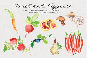 Fruit & Veggies Watercolor Art