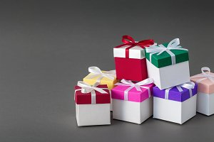 Gift boxes with ribbons.