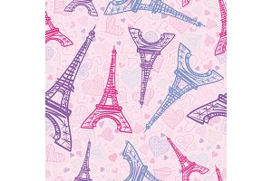Vector Drawing Pink Eifel Tower Paris Seamless Repeat Pattern Surrounded By St Valentines Day Hearts Of Love. Perfect for travel themed postcards, greeting cards, wedding invitations.