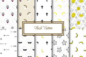 Flash Tattoo Seamless Patterns