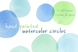 Blue-Green Watercolor Circles & Dots