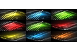 Set of neon smooth wave digital abstract backgrounds