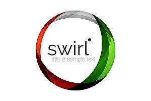 Digital techno swirl circle business icon