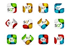Set of vector abstract square business emblems