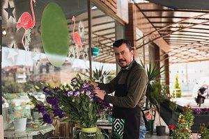 Florist working in a flower shop