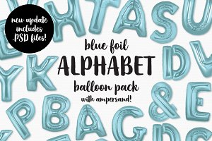 Blue Foil Alphabet Balloon Pack