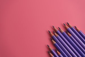 Purple penceils on pink background