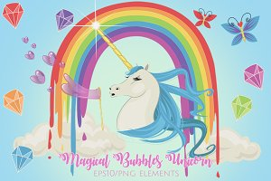Magical Bubbles Unicorn Graphics