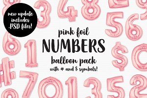 Pink Foil Number Balloon Pack