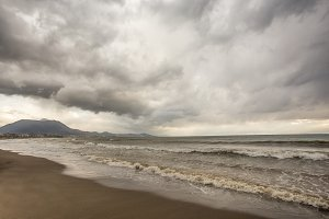 seascape on stormy day in Mediterranean town