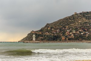 Alanya in winter.  Seascape on stormy day