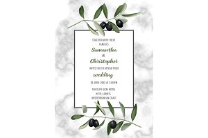 Classic Marble Wedding Invitation Card with Olive Brunches