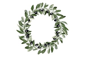Template Round Frame from Olive Branches