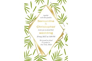Wedding Glamorous Inviration with Bamboo Leaves