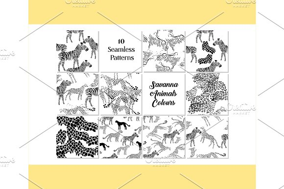 Set Seamless pattern with savanna animals colours