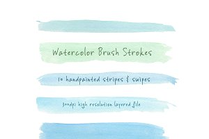 Watercolor Brush Strokes: Blue-Green