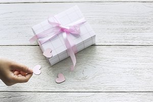 Cute gift box with cut out hearts