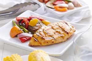 barbecue chicken with grilled veggie