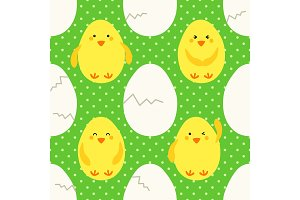 Cute childish hand drawn Easter seamless pattern with yellow little chickens emoji and eggs on polka dots background
