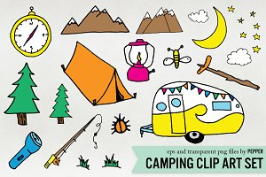 Camping Doodle Illustration Clipart