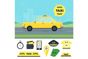 Taxi Transportation Service Set.