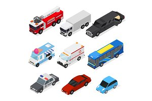 Cars Set Isometric View. Vector