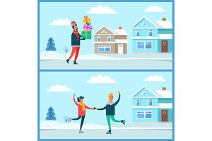 Man and Presents Winter Set Vector Illustration