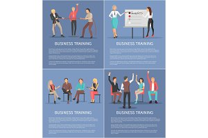 Business Training Posters Set with Leader Workers