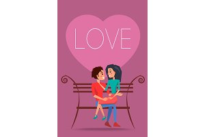 Love Poster with Happy Couple Sitting on Bench