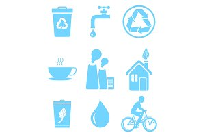 Blue Ecology Saving and Warning Isolated Icons Set