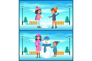 Happy Boy and Girl Play Snowballs, Makes Snowman