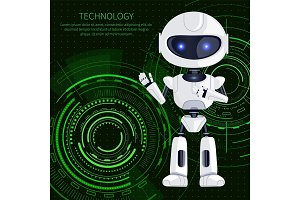 Technology Robot and Text Vector Illustration