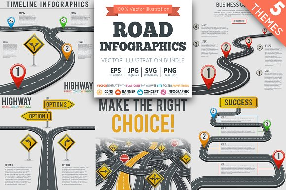 Timeline Road Infographics Themes