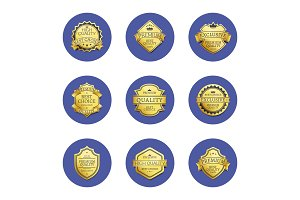 Collection Premium Quality Best Gold Labels Icons