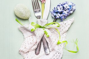 Easter festive table place setting