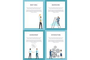 Business Set of Posters with Successful People