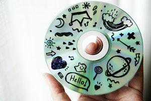 Closeup of music CD disc