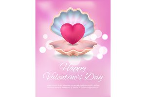Happy Valentines Day with Text Vector Illustration