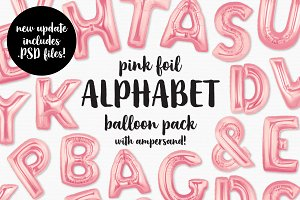 Pink Foil Alphabet Balloon Pack