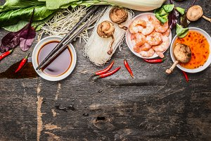 Asian cooking ingredients , rustic