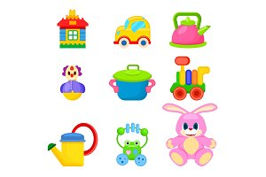 Soft and Plastic toys for Kids Illustrations Set